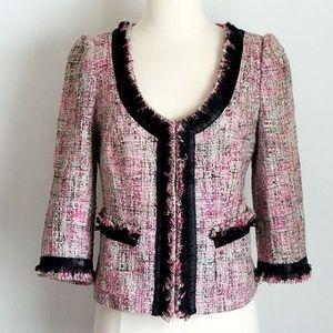 INC International Concepts Tweed Fringe Blazer